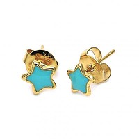 Gold Layered Stud Earring, Star Design, Gold Tone
