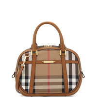 Check Canvas Satchel Bag, Brown Ochre - Burberry