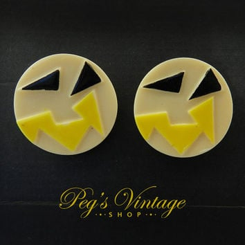 Retro Carved Celluloid Button Clip Earrings/Unique Yellow, Black Early Plastic Earrings