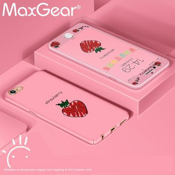 MaxGear Cute Lemon Strawberry Cartoon Hard Printed Matte PC Phone Case for iPhone 7 7 8 plus 6 6s 6plus 6s Plus Back Case