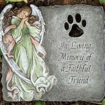 "Pet Memorial Garden Stone -  "" In Loving Memory Of A Faithful Friend """