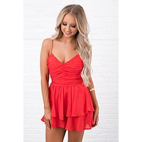 Forever Loved Open Back Romper (Red)