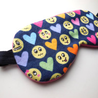 Emoticon Sleep Mask for Her, Night Eyemask, Women Teen Girl Child Kid, Pre-teen Gift, Fleece Cotton Satin, Toddler, Yellow Smile Face