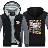 2016New Arrival GRAND THEFT AUTO V GTA Winter Men Hoodies Fleece Thick Jackets Sweatshirt Plus size