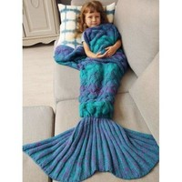Warmth Knitted Fish Scales Mermaid Blanket For Kids - Blue