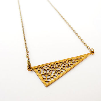 Vintage Brass Triangle Necklace, Spiderweb Pendant, Geometric Jewelry, Halloween Jewelry, Metal Lace, Brass Jewelry