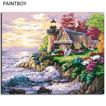 DIY Painting By Numbers Beach House Framed Picture Painting Wall Digital Canvas Oil Painting Home Decor For Living Room G174
