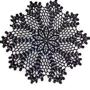 Small Black Crochet Doily 10 inches, Cottage Style Decor