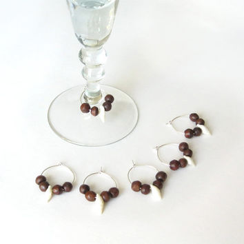 Wine Glass Charms - Nautical Decor - Wedding or Party Decoration - Beach Wedding - Sea Shells and Dark Wood - Set of 6