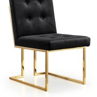 Pierre Black Velvet Dining Chair With Gold Base (set of 2)