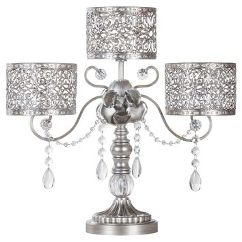 Antique 3 Pillar Crystal-Draped Hurricane Candle Holder Centerpiece (Silver)