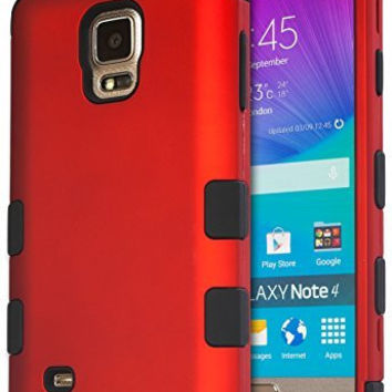 Samsung Galaxy Note 4 Hybrid Shockproof  Black Cover  Red Case