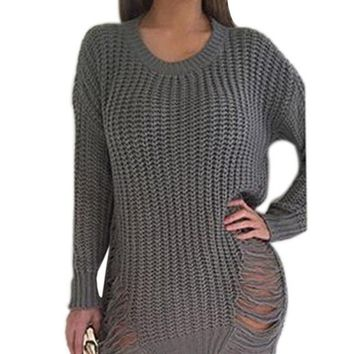 Ripped Out Asymmetrical Sweater Dress