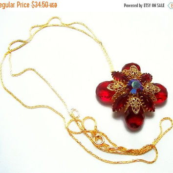 "Red Juliana Pendant Gold Metal Chain & Filigree Repurposed 30"" Vintage"