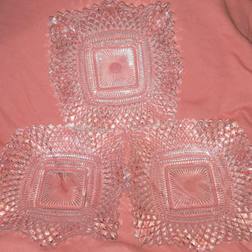 Set of Three Clear Diamond Pt Square Ruffled Edge Candy / Relish Dish/ Dessert Plates / 1930's to 1940's Made by Federal Glass Co