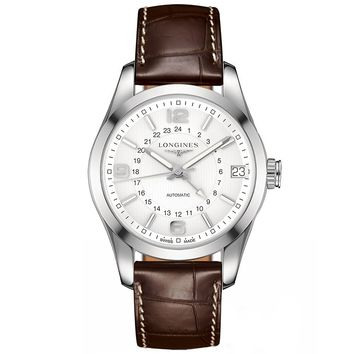 Longines Conquest Classic White Dial Brown Alligator Leather Mens Watch L27994763
