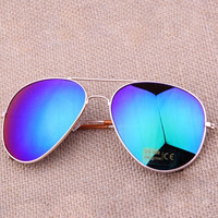 Cool Sunglasses AVIATOR Eyewear Mirror UV Protection / Golden Frame Blue-green Glasses = 5617247873