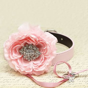 Pink Peony Flower Ring Bearer Dog Collar, Pet Wedding, Puppy Proposal, Beaded dogs collar