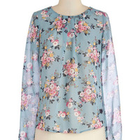 ModCloth Mid-length Long Sleeve Give Me a Speckle Top in Floral