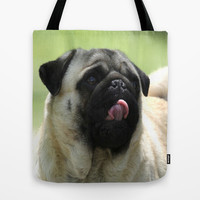Pug face Tote Bag by Veronica Ventress