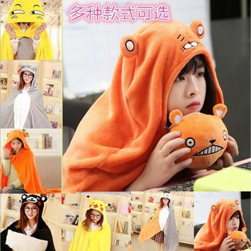 Pokemon Pikachu Totoro Bear Cat Umaru Chan Cosplay Halloween Costumes Women Anime Soft Hoodie Pajamas Animal Blanket Warm Cloak