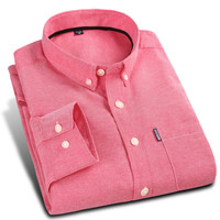 New Arrival Spring Men Oxford Casual Shirt Lightweight Breathable Soft Long Sleeve Solid Color Red Slim Fit Men Dress Shirt