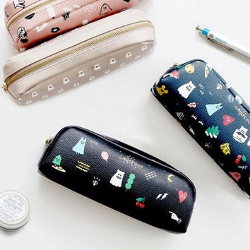 Korean Cute Diy animal Cartoon Pattern Pencil case Pen Box School Cosmetic bag Makeup Vintage PU Leather pouch Holder Bag stationery Planner
