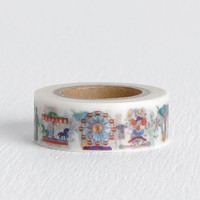 Carnival Washi Tape, Fair Circus Tape with Elephants, Carousel Ferris Wheel Clowns 15mm x 10m
