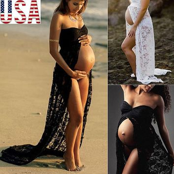 Couple maternity photography props maxi Maternity gown Lace Maternity Dress Fancy shooting photo summer pregnant dress Plus Size