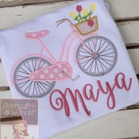 Girls ruffle shirt or tank top -- Made to match Matilda Jane Hello, Lovely -- Bicycle, Lovely -- pretty bike with flower basket