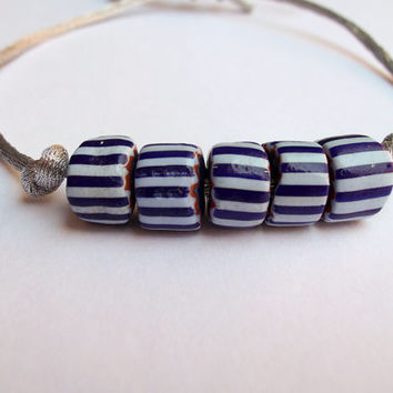 Murano Glass Bead Bracelet-Made in Italy-Blue White Striped Beads-Murano Glass Jewelry-Handmade Jewelry-Silver Silk Cord-Vintage Murano Bead