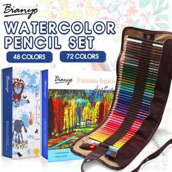 Bianyo 48 72 Colors Water Soluble Pencils Gift Package Children Colored Sketch Watercolor Pen Set For Artist Drawing Supplies