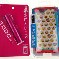Red Emoji Cell Phone Case iPhone 6 2000mAh External Portable USB Battery Charger