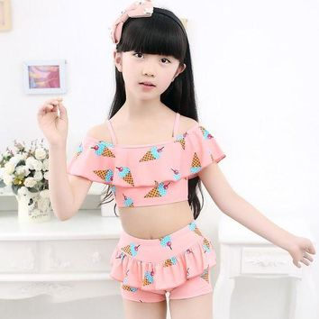 DCCK7N3 2016Fashion Girls Bikinis Ruffle Layered Top Cute Dot Baby Swimwear Biquni Infantil Girls Bathing Suit Top Quality free shopping