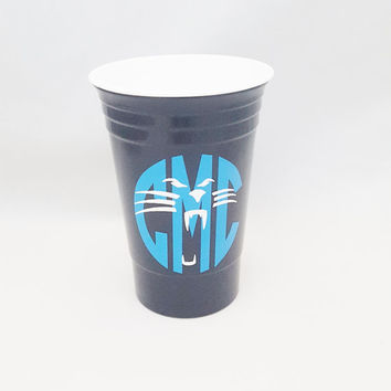Carolina solo cup, Panther solo cup, Panther monogram, Carolina monogram, football monogram, tailgating, solo cup, carolina, panther