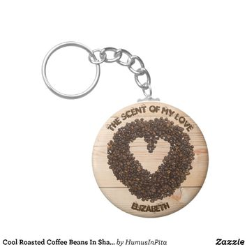 Cool Roasted Coffee Beans In Shape Of Heart Keychain