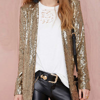 Gold Sequined Long Sleeve Coat
