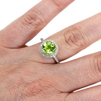 Platinum Peridot Ring Diamond Halo Engagement Ring Custom August Birthstone Ring