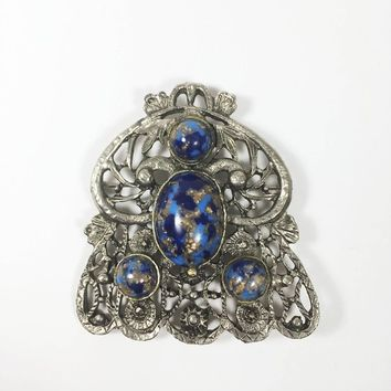 Vintage Silver Tone Art Glass Brooch, Blue Oval Round Art Nouveau Style Pin