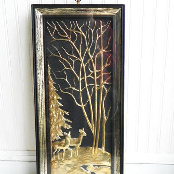 Mid Century Large Gold Deer Wall Art Tall