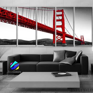 "XLARGE 30""x 70"" 5Panels Art Canvas Print Beautiful Golden Gate Bridge San Francisco California Black White red Wall Home (framed 1.5"" depth)"