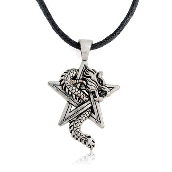 my shape Pewter Dragon on Pentacle Pentagram Star Gothic Fantasy Pendant Mens Leather Necklace
