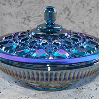 Vintage~Blue Carnival Glass Candy Dish w/ Lid~w/ Original Box
