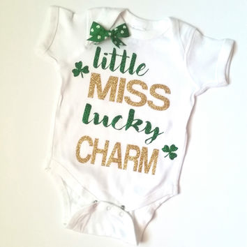 Little Miss Lucky Charm - Saint Patricks Day - Girls Onesuit -  Body Suit - Onesuit - Ruffles with Love - Baby Clothing - RWL Kids
