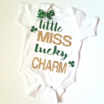 Little Miss Lucky Charm - Saint Patricks Day - Mia Grace Designs -  Body Suit - Onesuit - Ruffles with Love - Baby Clothing - RWL Kids