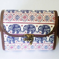 Fabric leather bag Ethnic elephant handbags Square bag fake leather bag wide 20 cm. wide bottom Cross body bag