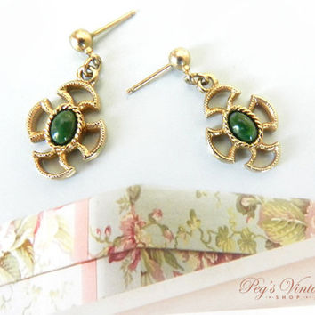 Vintage Avon Green Jade Earrings, Gold Filigree Pierced Earrings