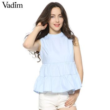Women stand collar blue pleated sleeveless blouses basic solid back buttons shirts European style summer casual top blusas WT307