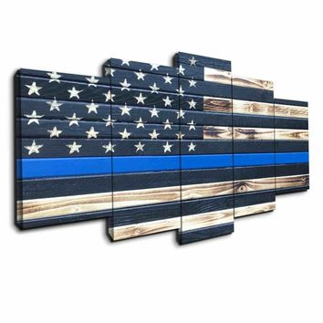 Police Blue Line Five Piece Canvas Wall Art Home Decor