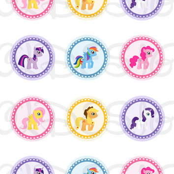 My Little Pony alike Stickers, Cupcake Topper, Tags, great for birthday partys. 2 Inch Circles. Digital file